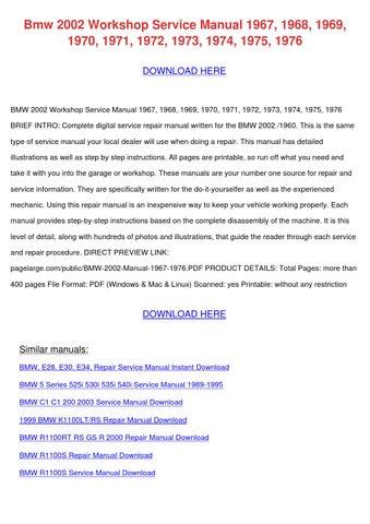 Bmw 2002 Workshop Service Manual 1967 1968 19 by LuzHorning - issuu