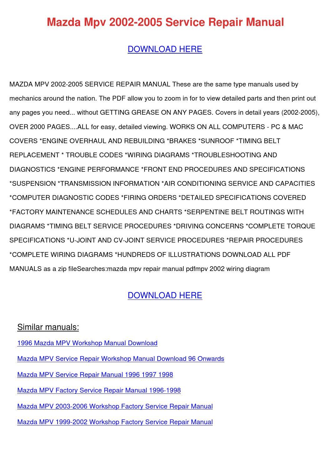 6985ae 200 Mazda Mpv Workshop Manual Wiring Diagram Library
