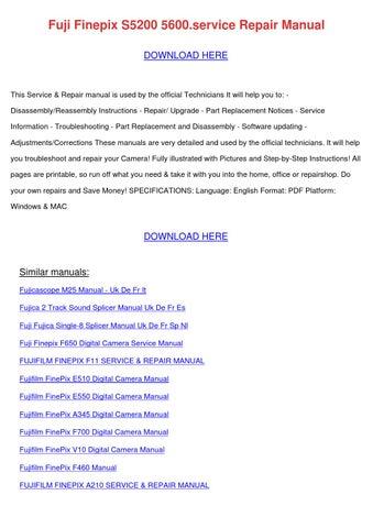 fuji finepix s5200 5600service repair manual by yasminware issuu rh issuu com Fuji FinePix Software Fuji FinePix Z Camera