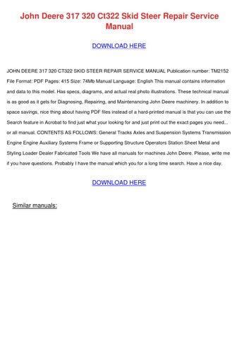 John deere Ct322 repair Manual