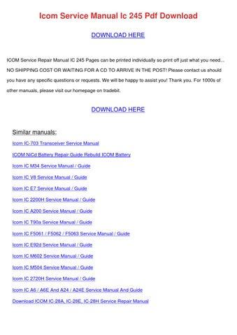 download icom ic a14 service repair manual