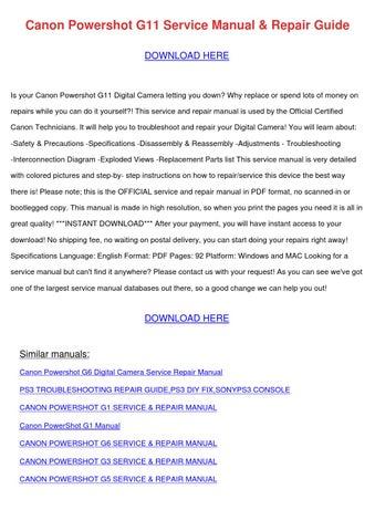 canon powershot g11 service manual repair gui by catalinabattle issuu rh issuu com Canon PowerShot G16 Compact Digital Camera Canon PowerShot G11 Accessories