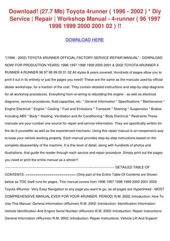 Download 277 Mb Toyota 4runner 1996 2002 Diy by TobySturgis - issuu