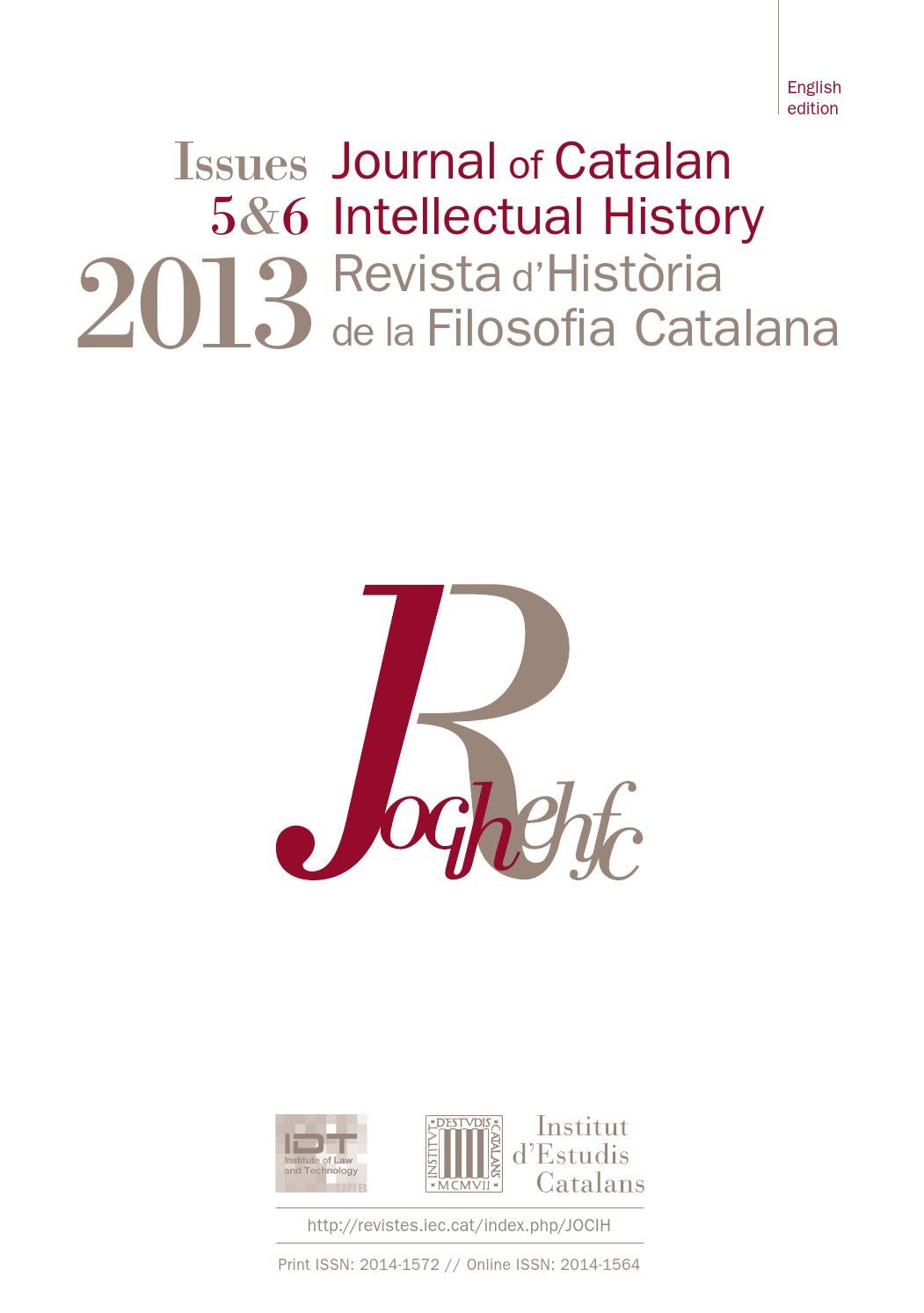 Journal of Catalan Intellectual History by Institut d'Estudis Catalans -  issuu