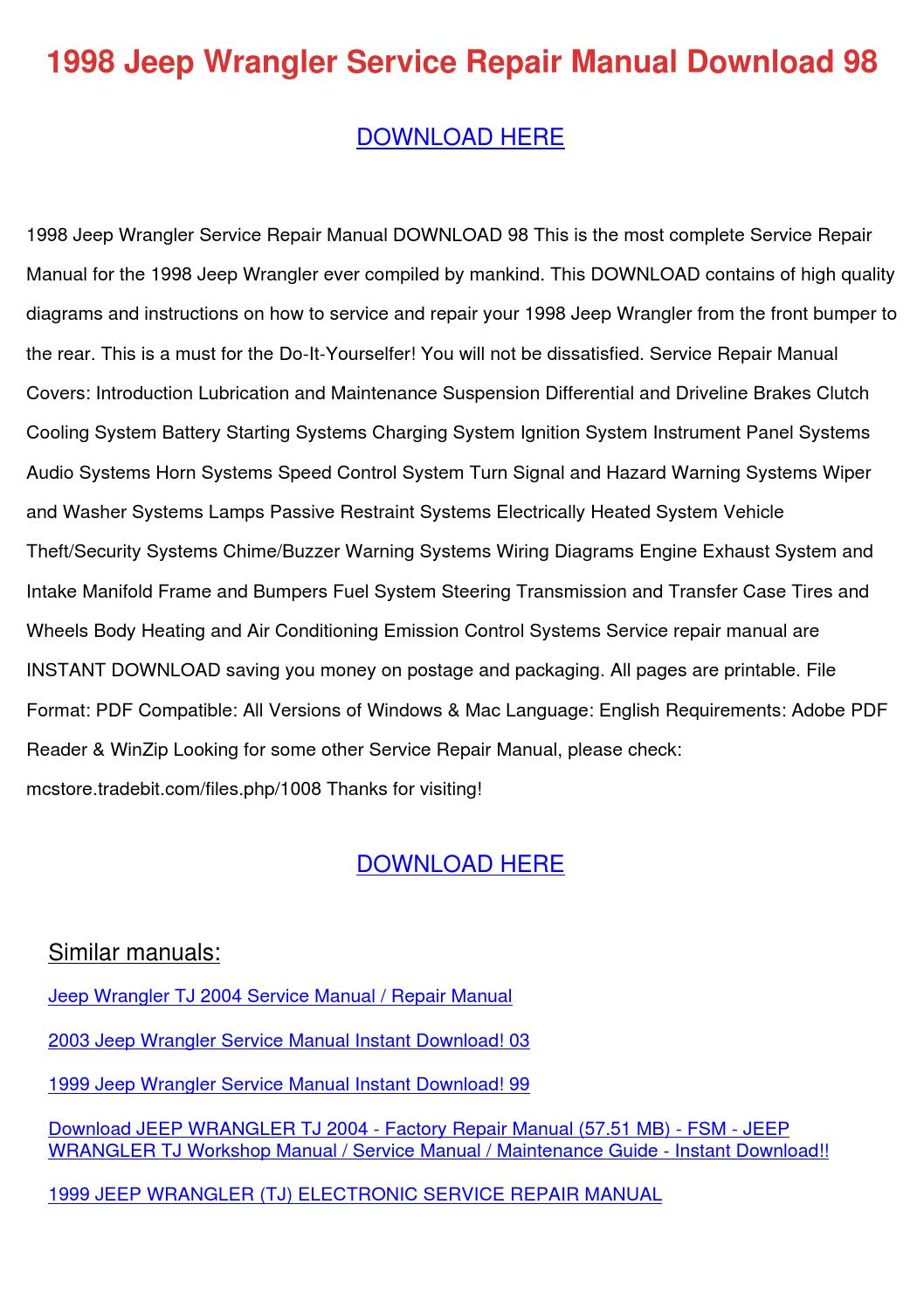 1998 Jeep Wrangler Service Repair Manual Down By Maymcvay