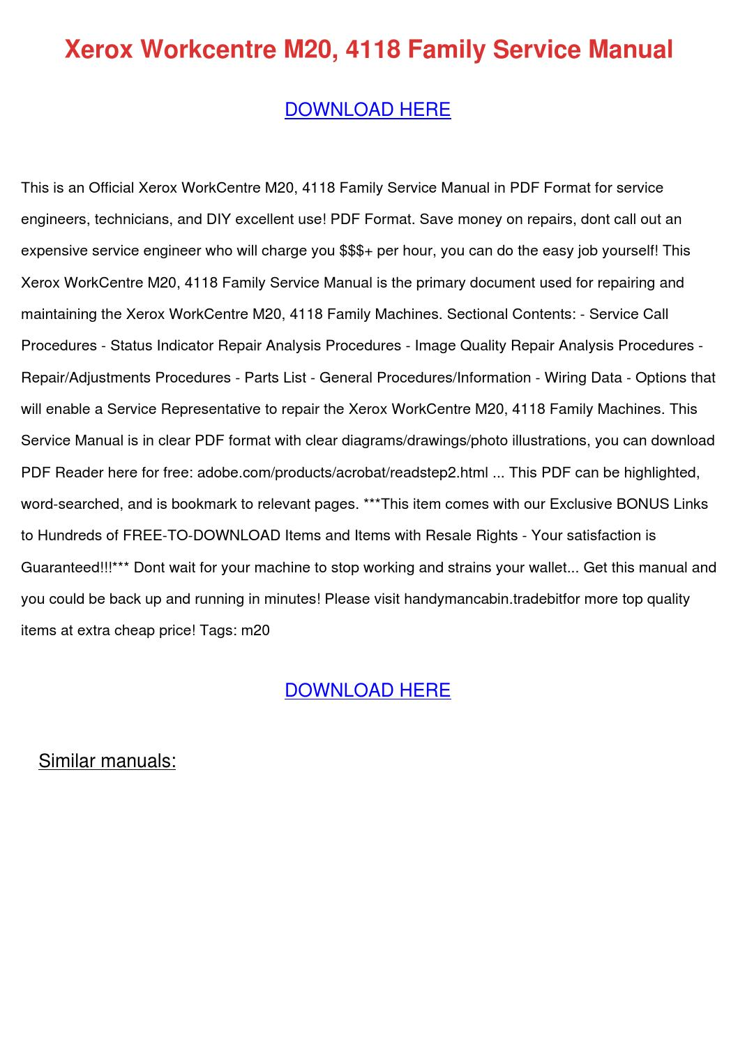 Xerox Workcentre M20 4118 Family Service Manu By Maymcvay border=