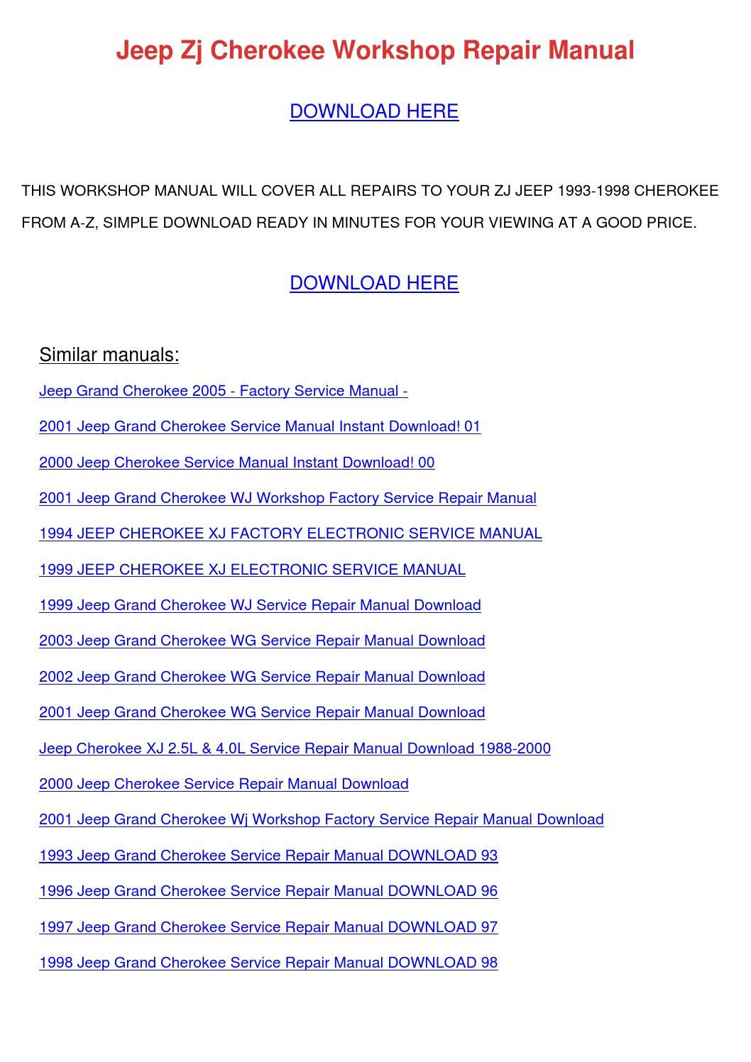 Jeep Zj Cherokee Workshop Repair Manual by KristianHurd - issuu