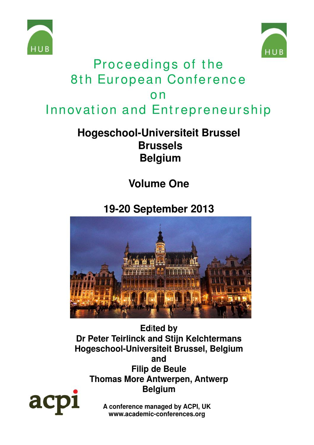 Pproceedings of the 8th european conference on innovation and pproceedings of the 8th european conference on innovation and entrepreneurship ecie 2013 volume 1 by acpil issuu fandeluxe Images