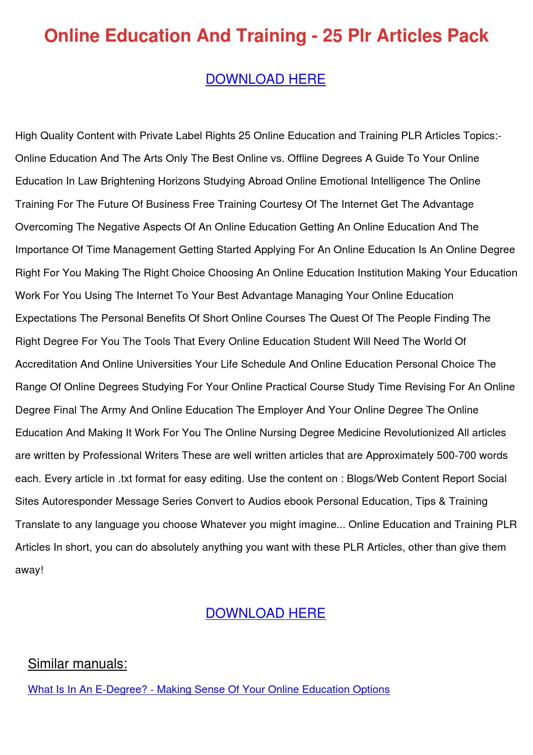 Online Education And Training 25 Plr Articles by SammieRyder - issuu