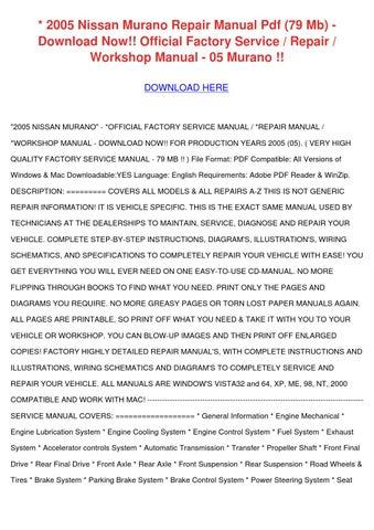 2005 nissan murano repair manual pdf 79 mb do by merrillmeek issuu