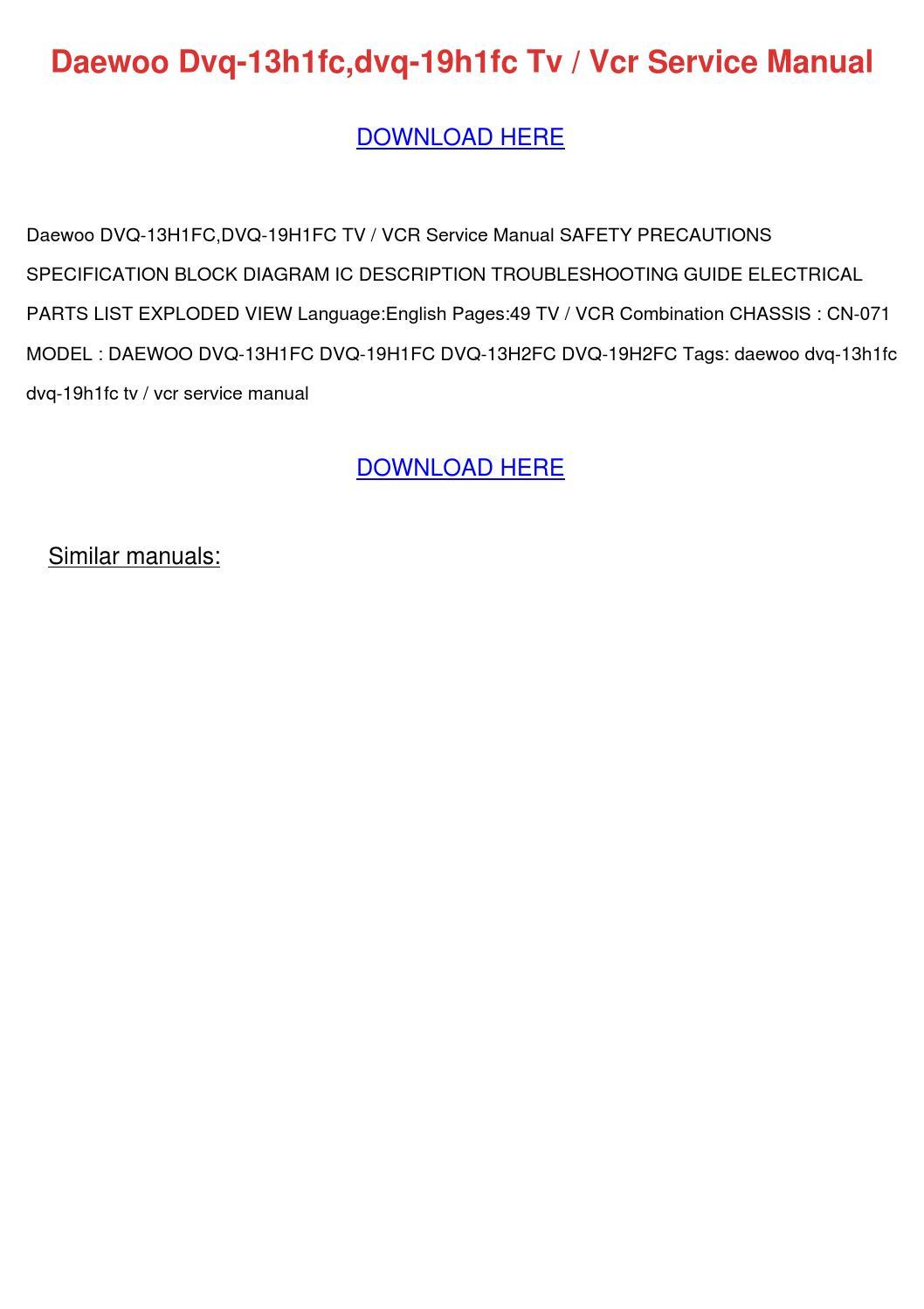 Daewoo Dvq 13h1fcn Tv Vcr Workshop Service Repair