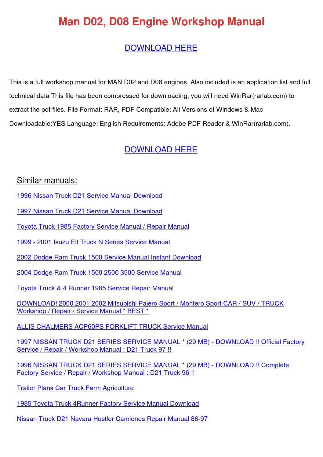 man d02 d08 engine workshop manual by karolhutcherson issuu rh issuu com Dodge  Ram 1500 Manual Book Dodge Viper Manual