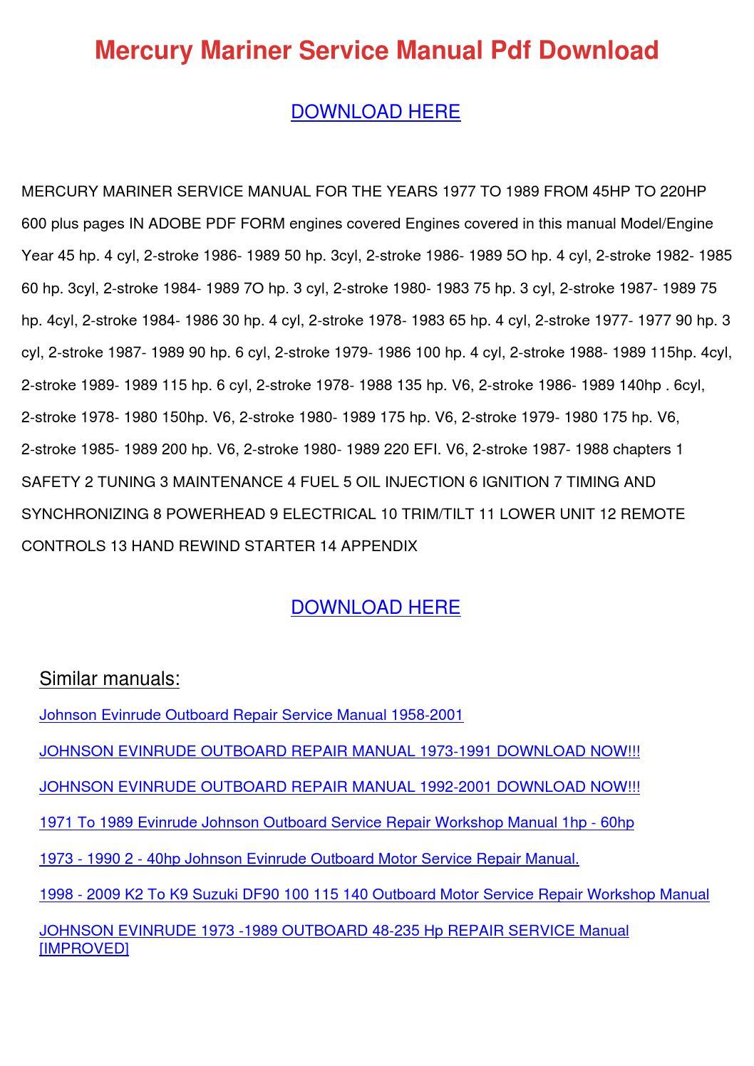 Mercury Mariner Service Manual Pdf Download by