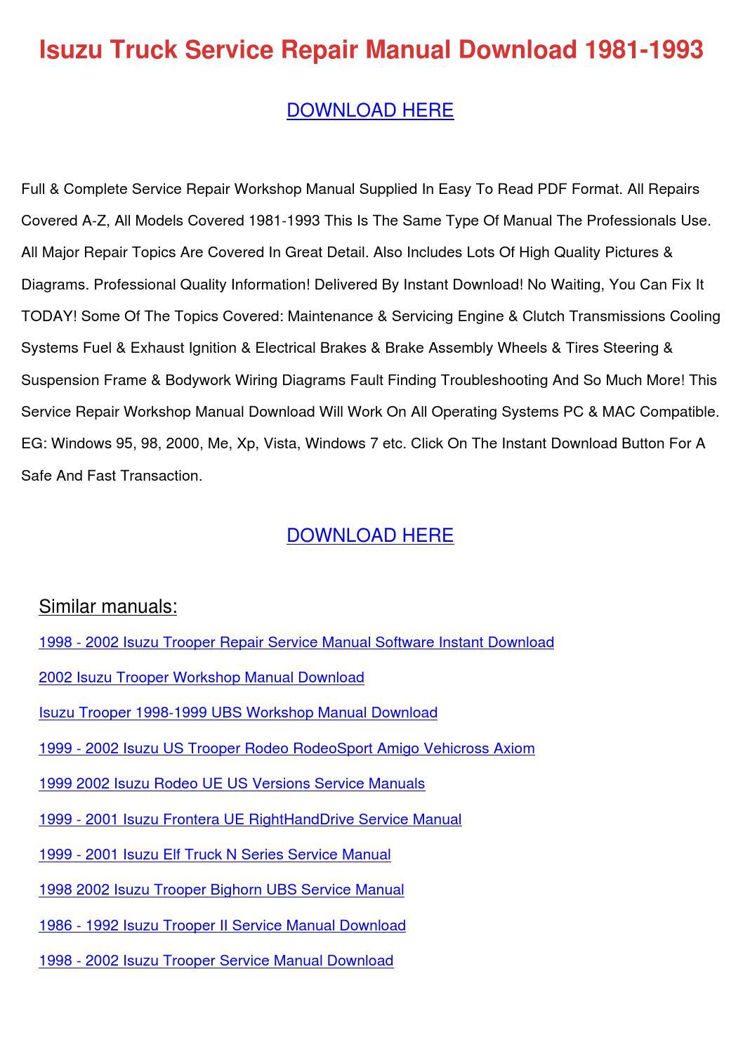 Isuzu truck service repair manual download 19 by cristinacapps issuu publicscrutiny Gallery