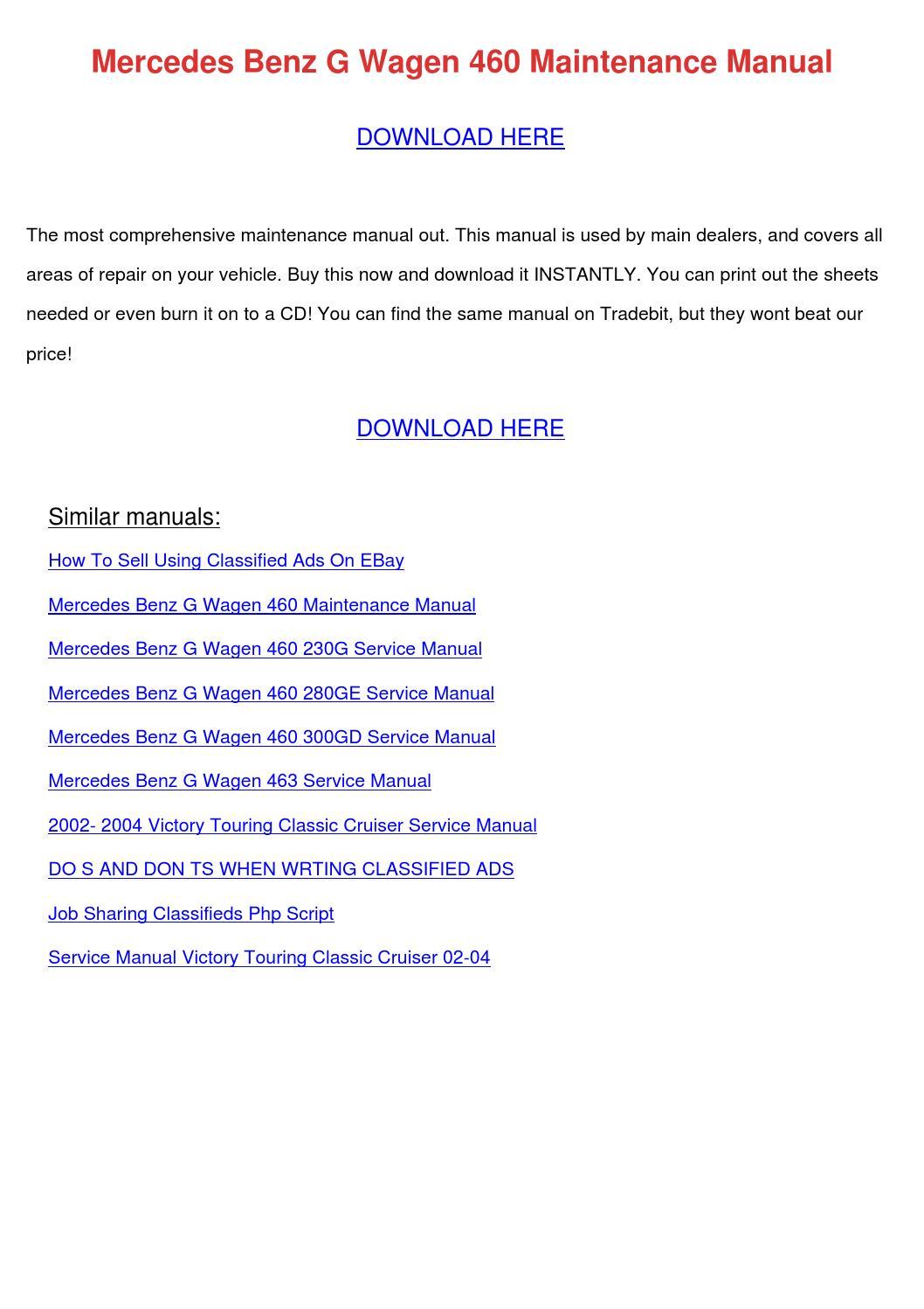 Mercedes Benz G Wagen 460 Maintenance Manual By Rositariddle