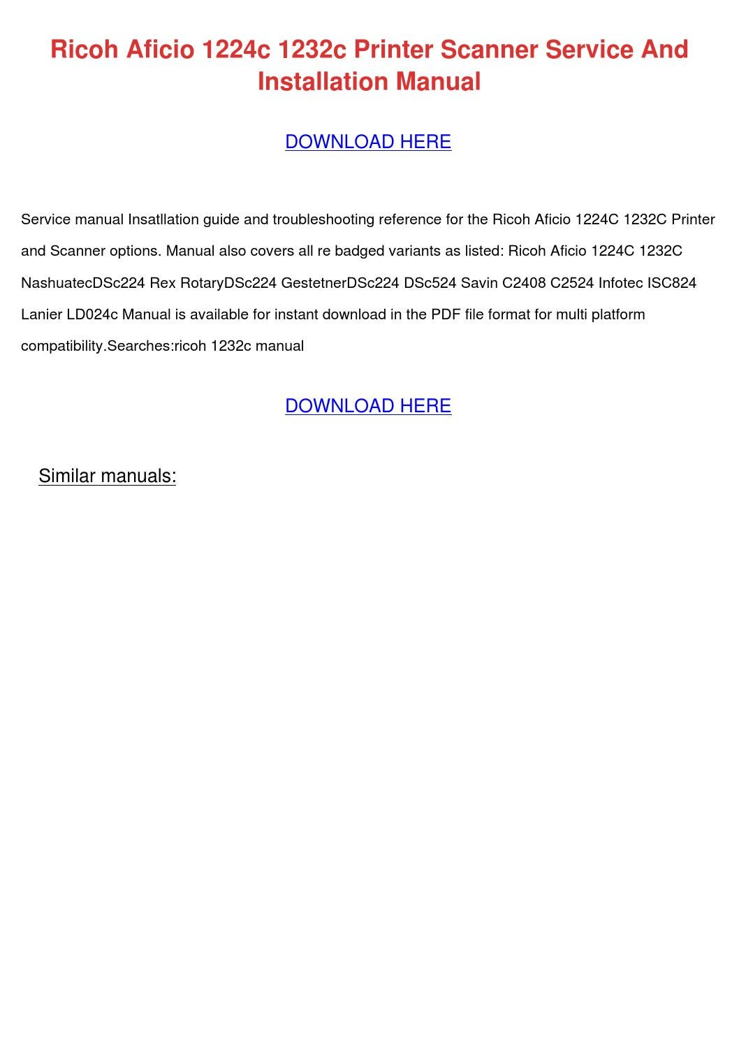 ricoh aficio 1224c 1232c printer scanner serv by