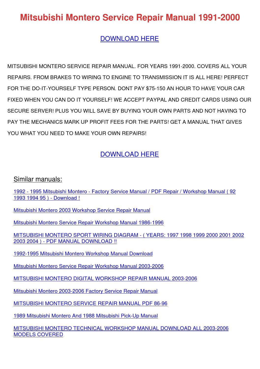 Mitsubishi Montero Service Repair Manual 1991 By