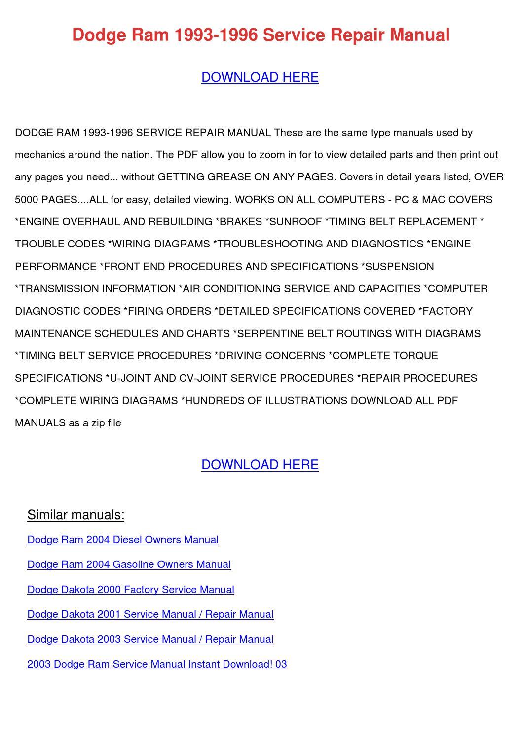 Dodge Ram 1993 1996 Service Repair Manual by LakeshaKessler - issuu