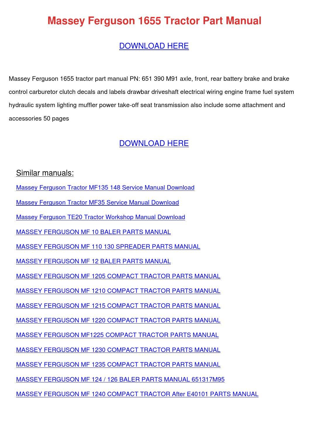 Massey Ferguson 1655 Tractor Part Manual by LakeshaKessler - issuu