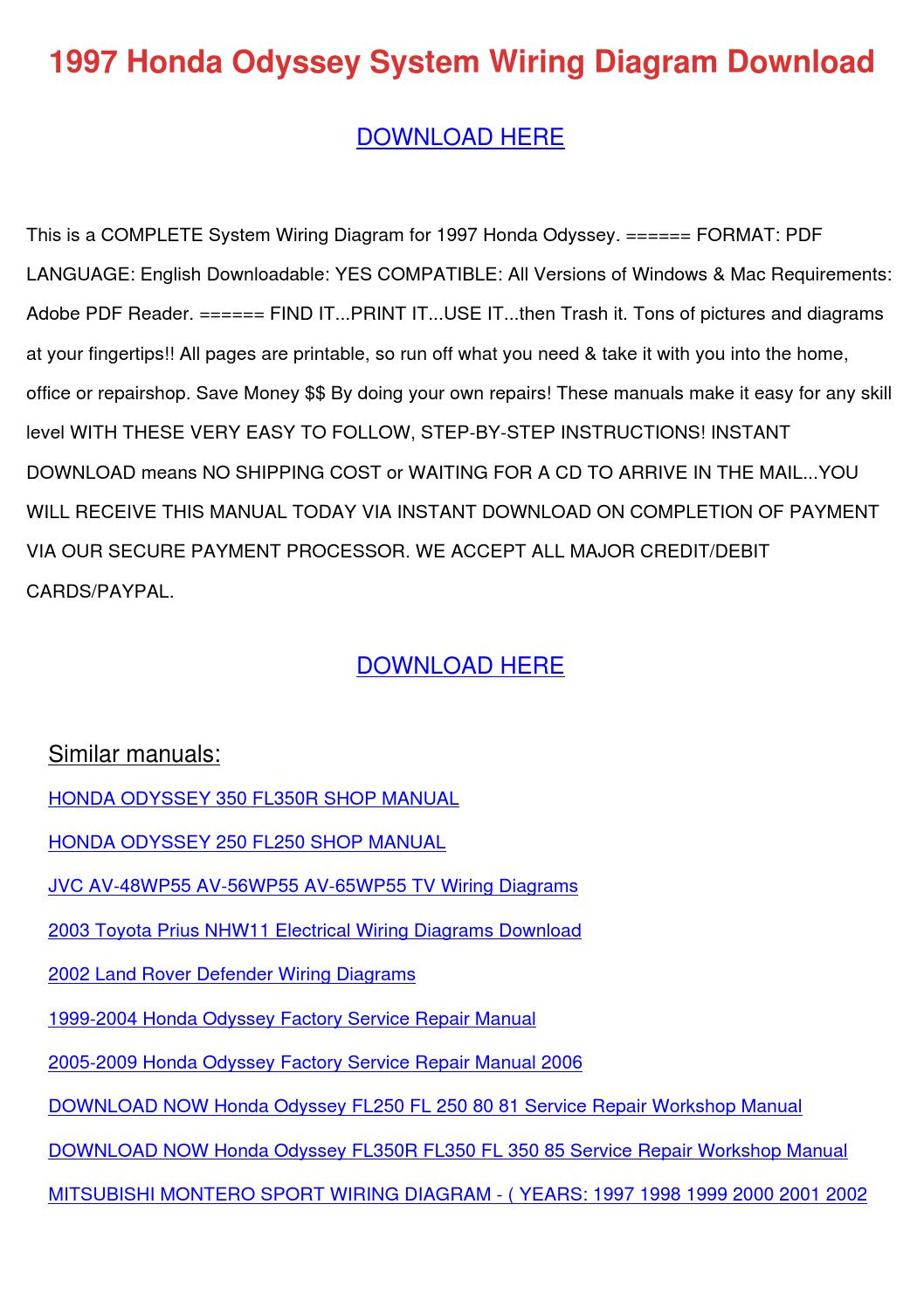 1997 Honda Odyssey System Wiring Diagram Down By Lionellockwood Issuu Land Rover Discovery Fuse