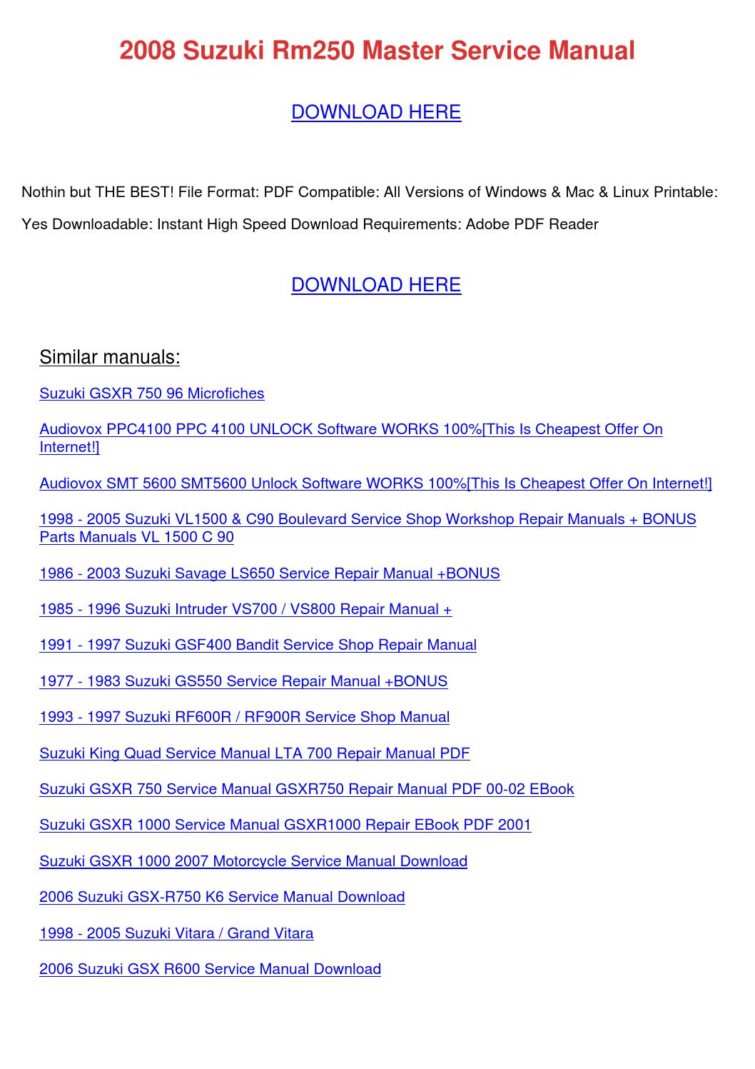 2008 Suzuki Rm250 Master Service Manual By Lakeshakessler