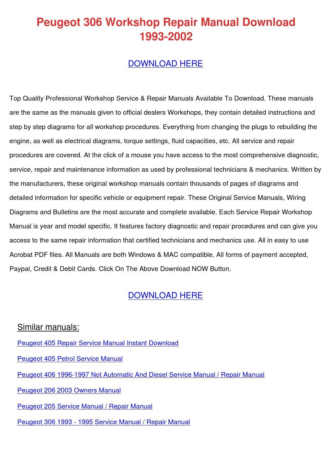 Peugeot 306 Workshop Repair Manual Download 1 By Lakeshakessler Issuu Wiring Diagrams Pdf