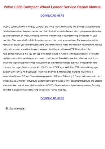 volvo l30b compact wheel loader service repair manual instant download