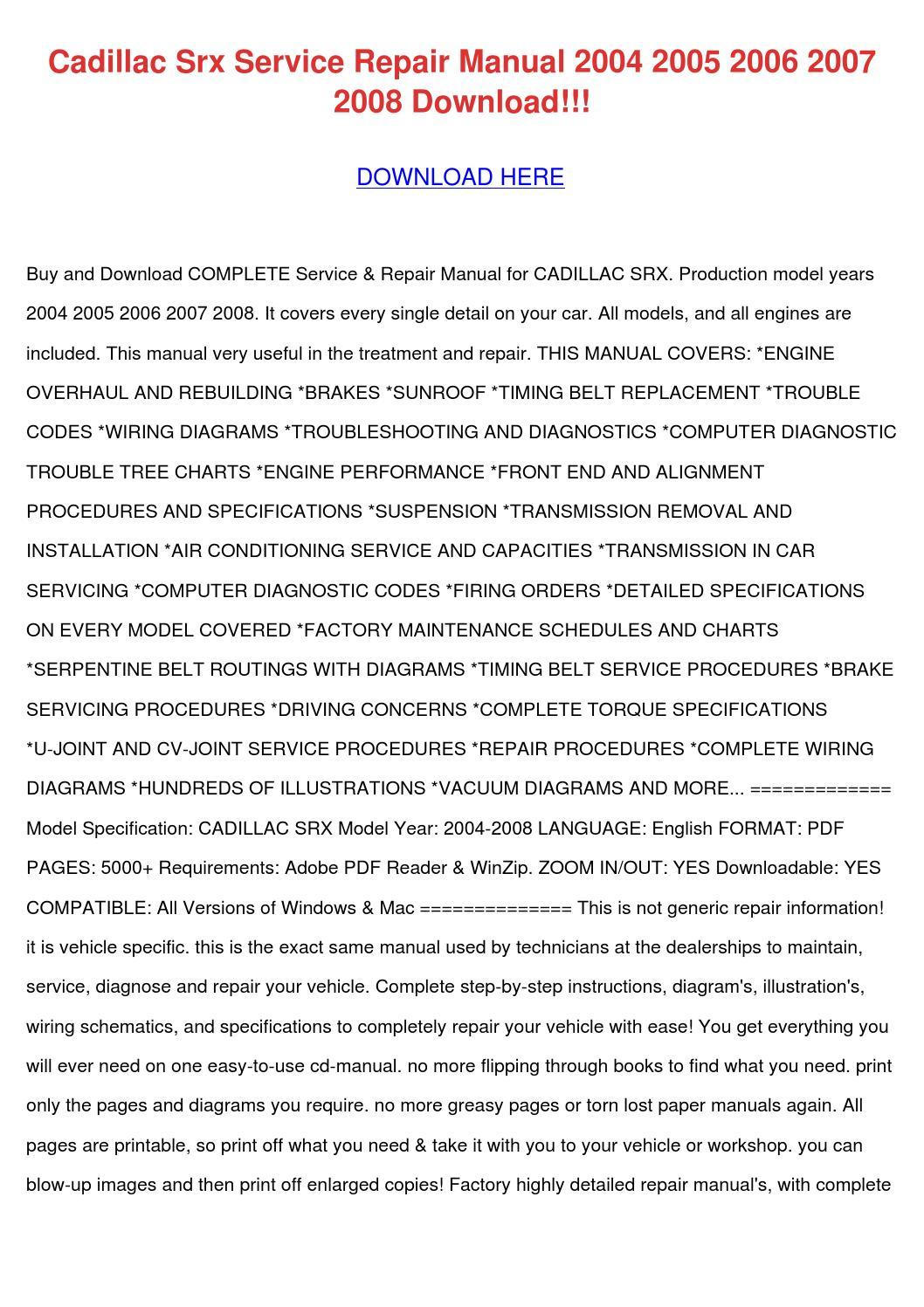 Cadillac Srx Service Repair Manual 2004 2005 By Lakeshakessler Issuu Xlr Wiring
