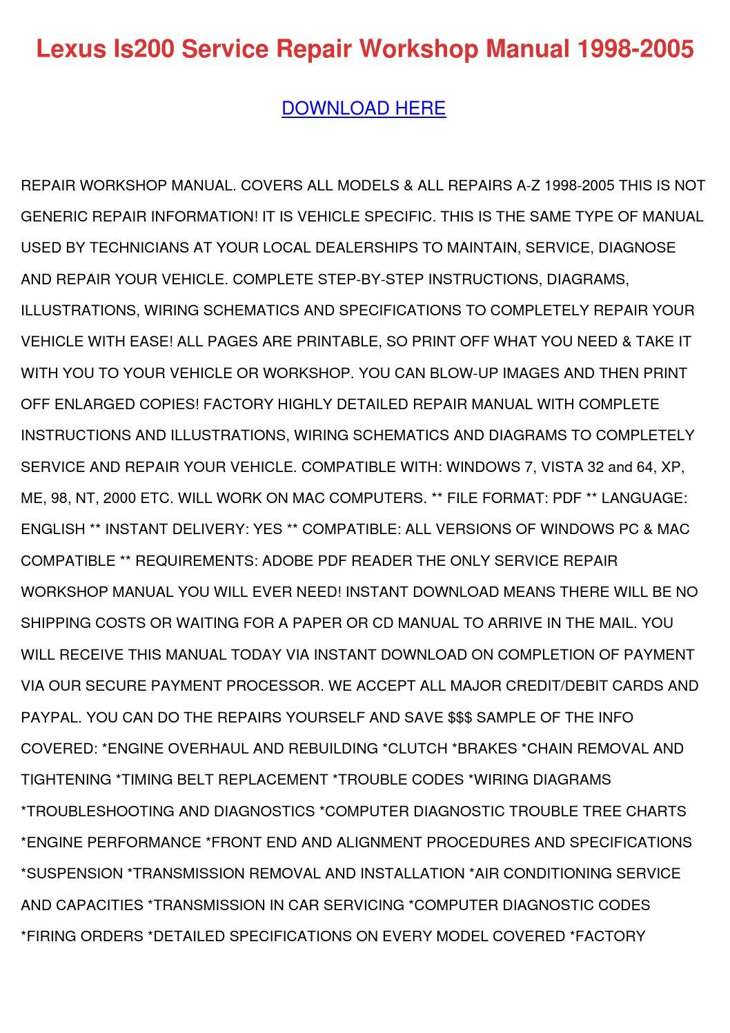 Lexus Is200 Service Repair Workshop Manual 19 By Melvinmcvey Issuu Sc300 Engine Diagram