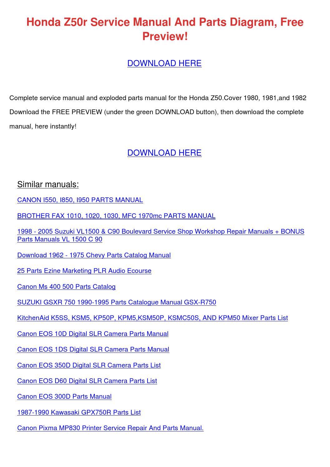 Honda Z50r Service Manual And Parts Diagram F By Melvinmcvey