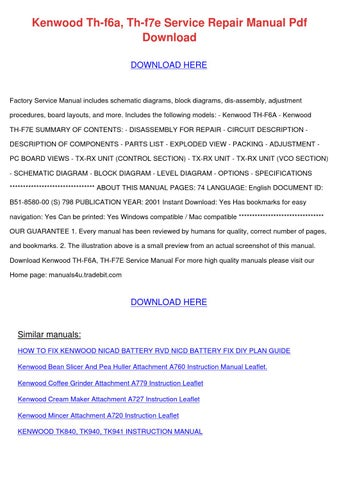 Kenwood Th F6a Th F7e Service Repair Manual P by MelvinMcvey - issuu