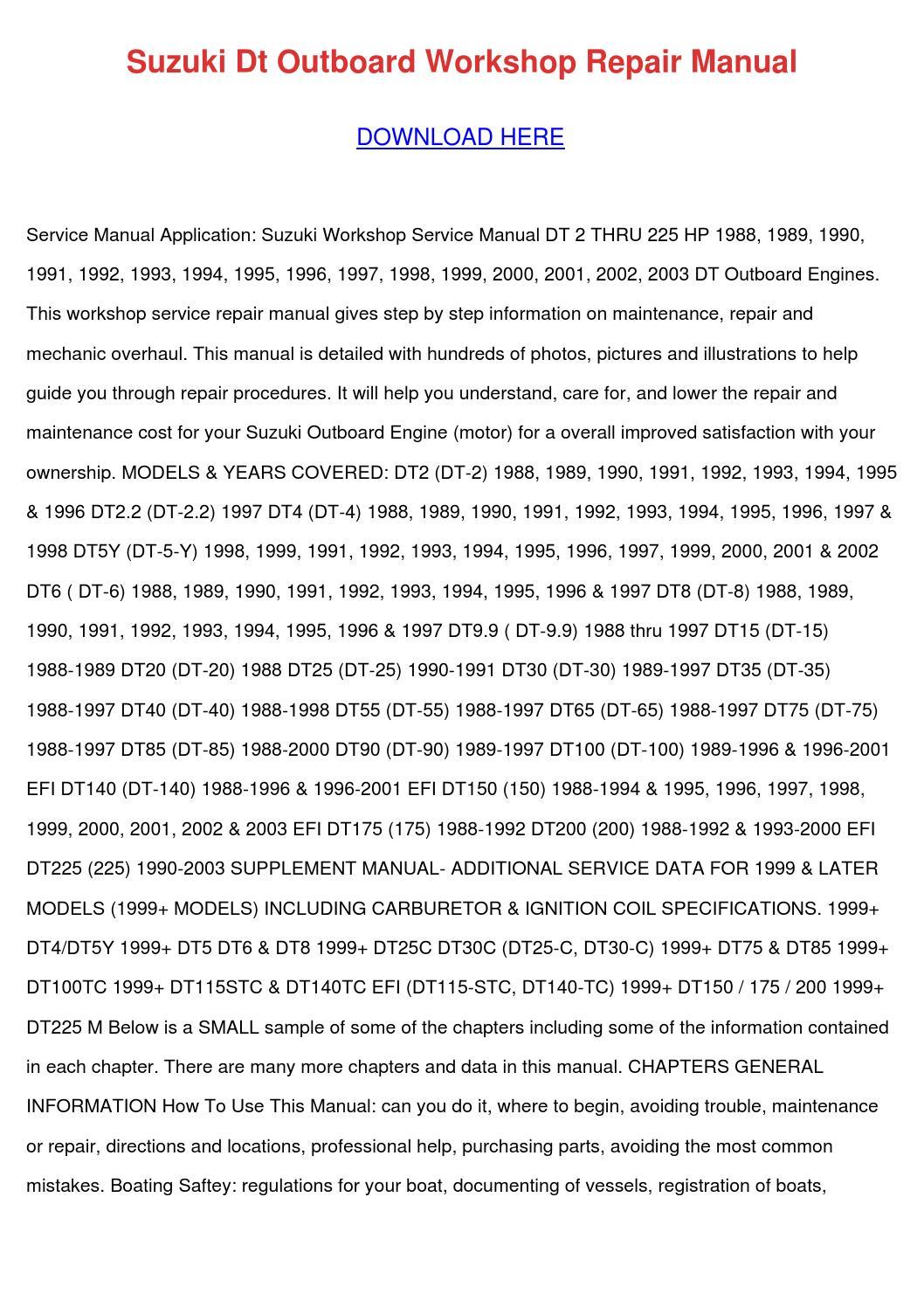 Suzuki Dt Outboard Workshop Repair Manual by MelvinMcvey - issuu