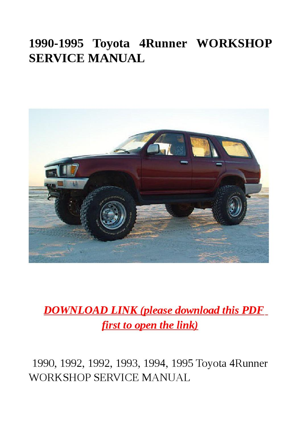 1990 1995 Toyota 4runner Workshop Service Manual By