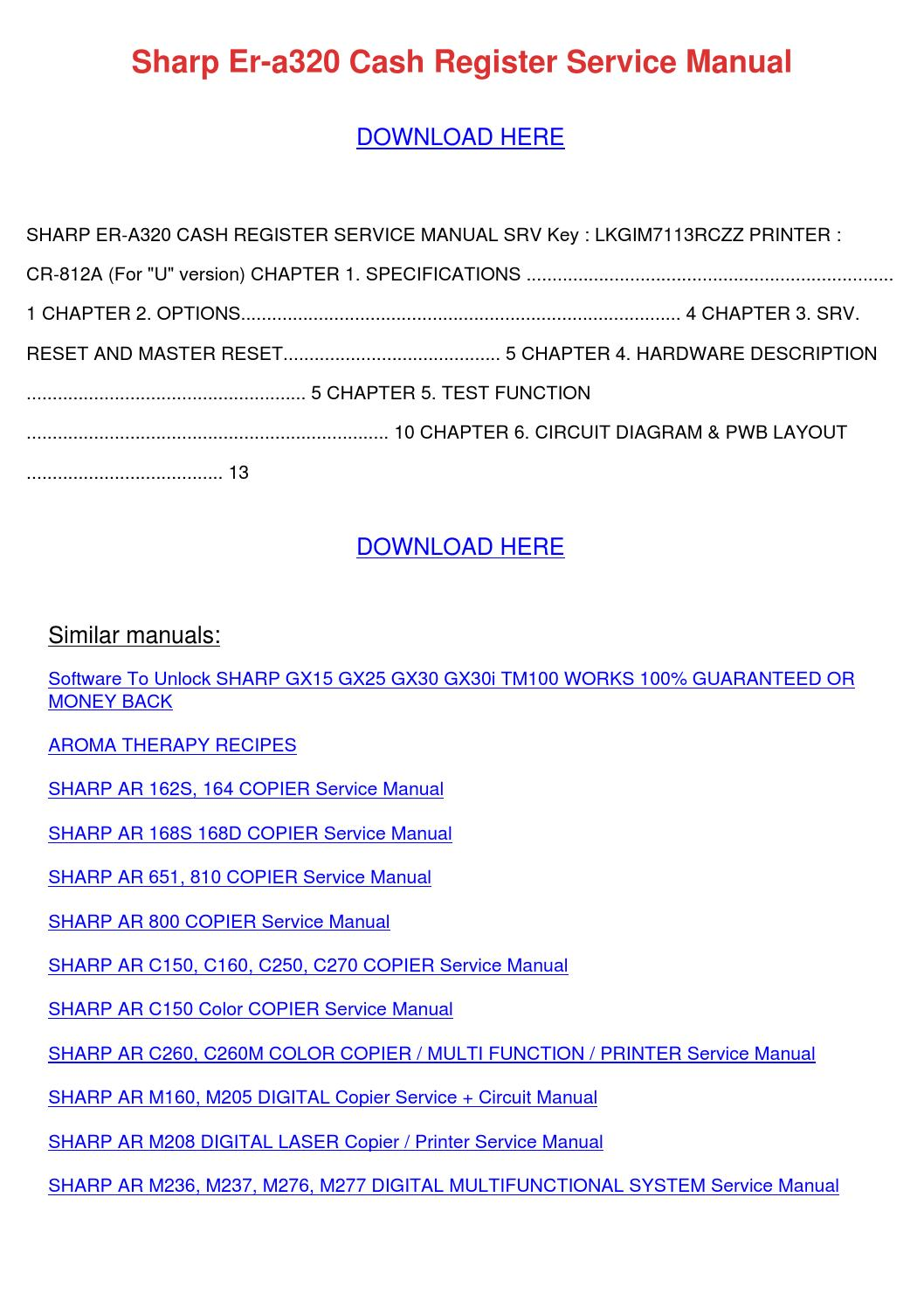 Sharp Er A320 Cash Register Service Manual By