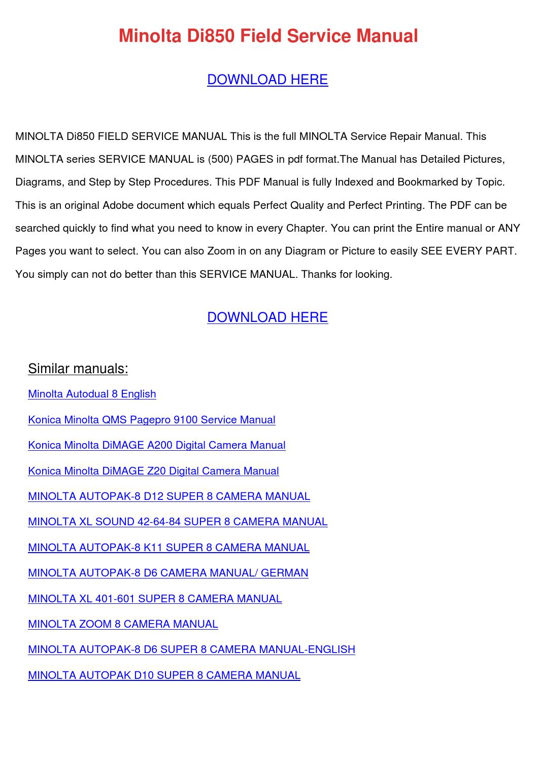minolta di850 field service manual by leilalanders issuu rh issuu com