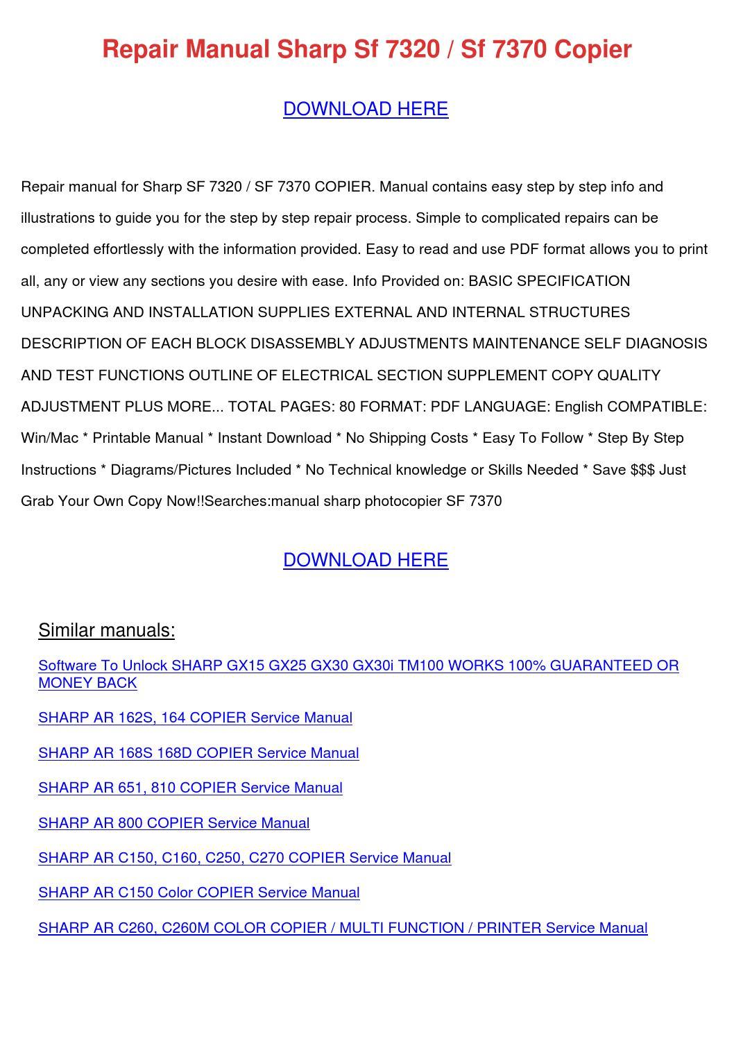 repair manual sharp sf 7320 sf 7370 copier by tommyscarbrough issuu rh issuu com sharp sf 7370 manual SIC Code 7370