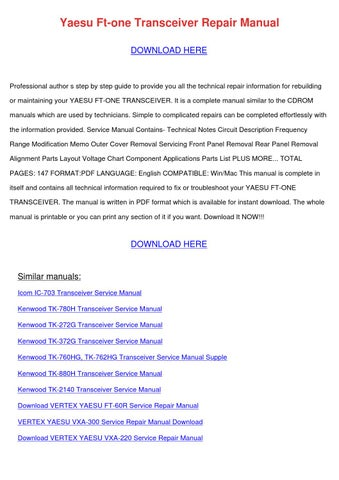Yaesu Ft One Transceiver Repair Manual by PedroMcgovern - issuu