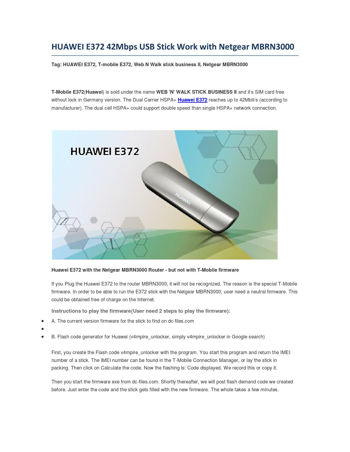 HUAWEI E372 42Mbps USB Stick Work with Netgear MBRN3000 by Lte Mall