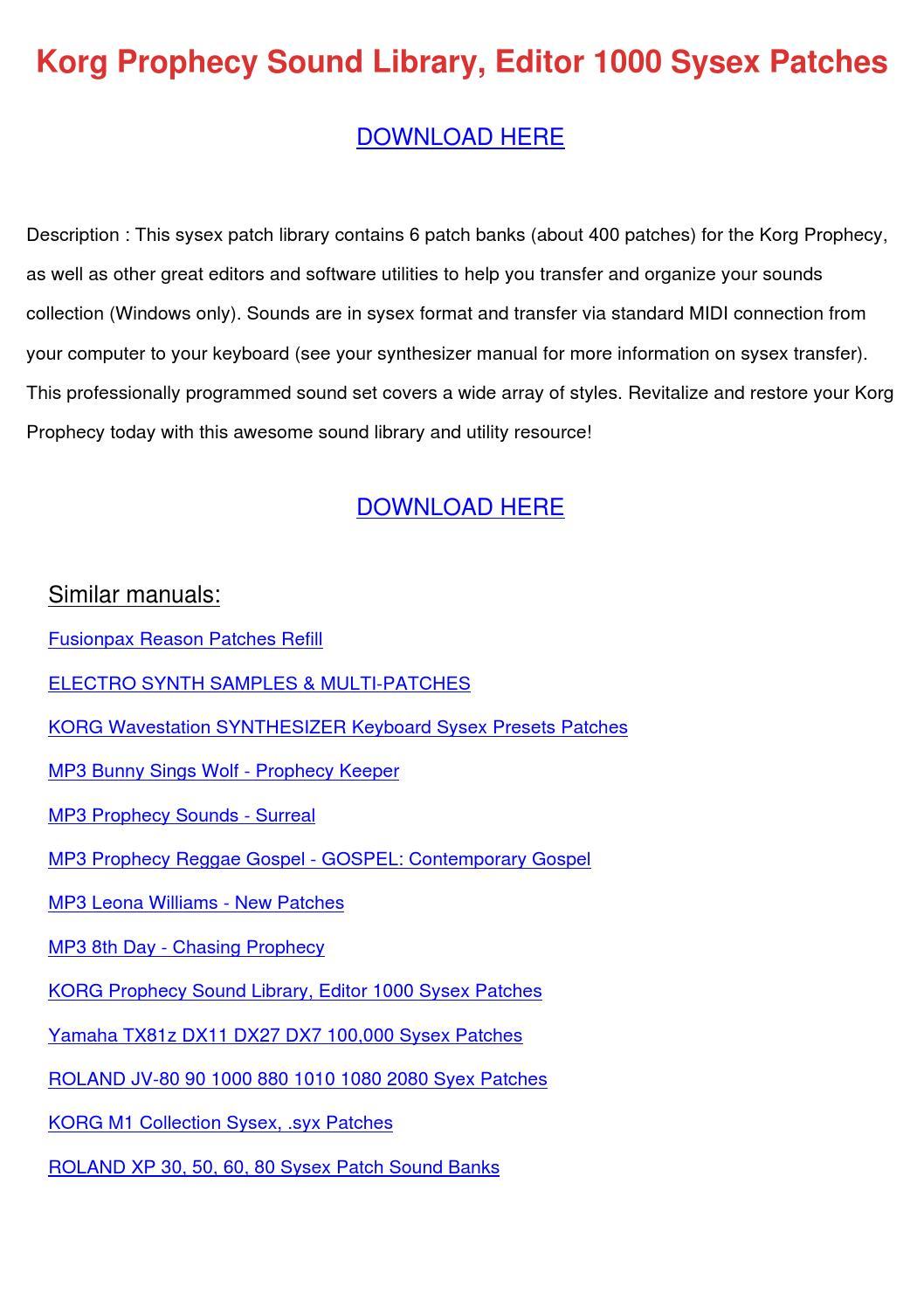 Korg Prophecy Sound Library Editor 1000 Sysex by DoyleCrist - issuu