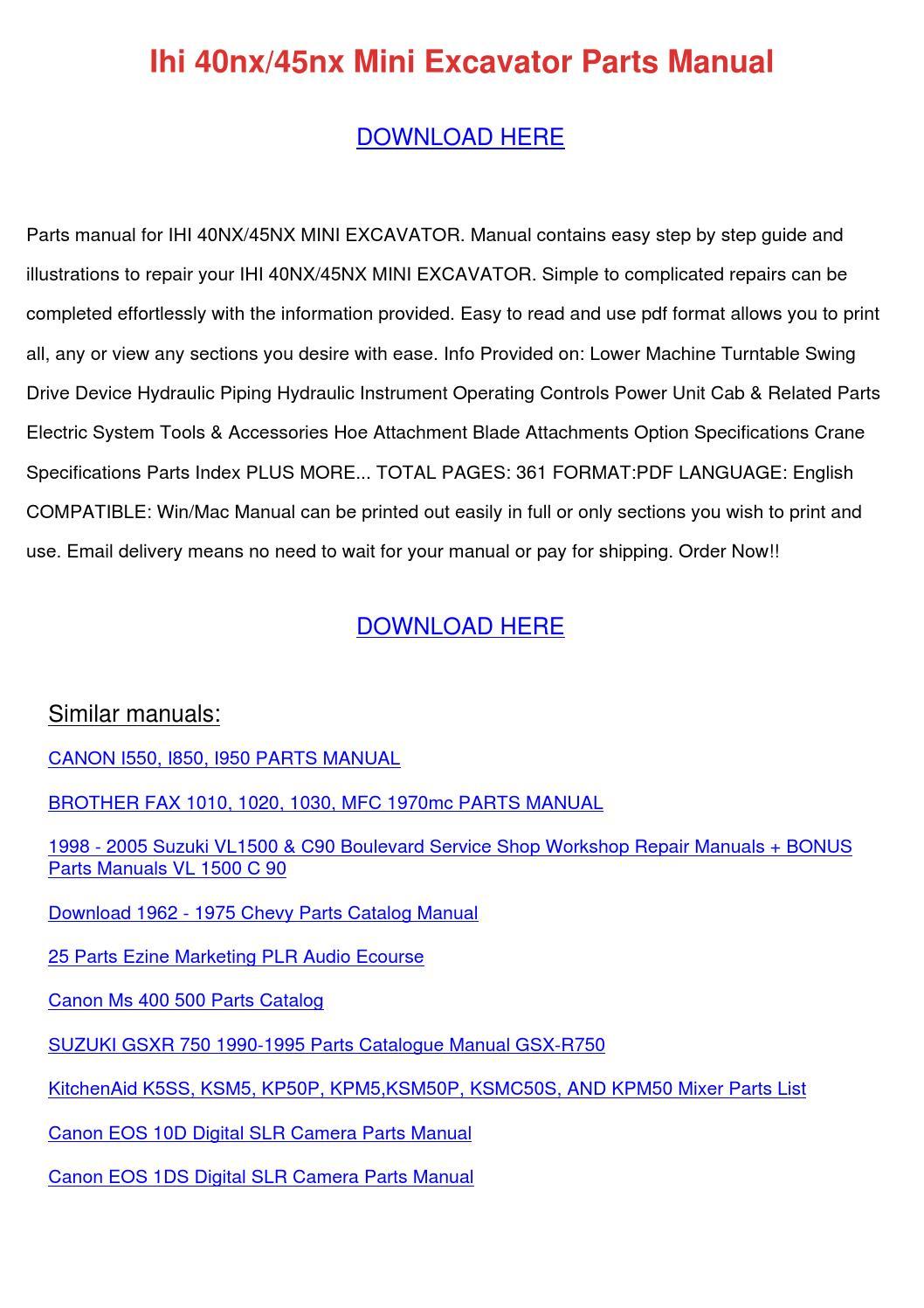 Ihi 40nx45nx Mini Excavator Parts Manual by DoyleCrist - issuu