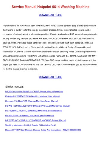 Service Manual Hotpoint 9514 Washing Machine by DoyleCrist - issuu