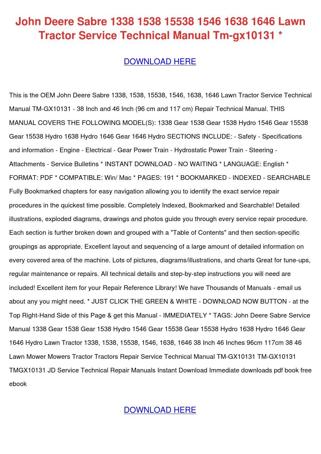 John Deere sabre 1646 manual