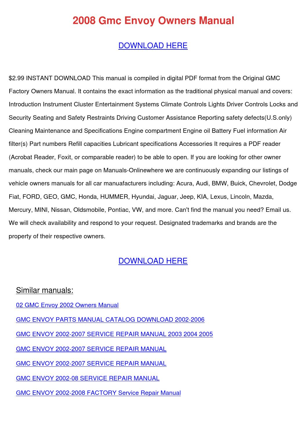 2008 Gmc Envoy Owners Manual by TheresaShaw - issuu