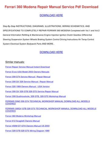 ferrari 360 modena repair manual service pdf download download here
