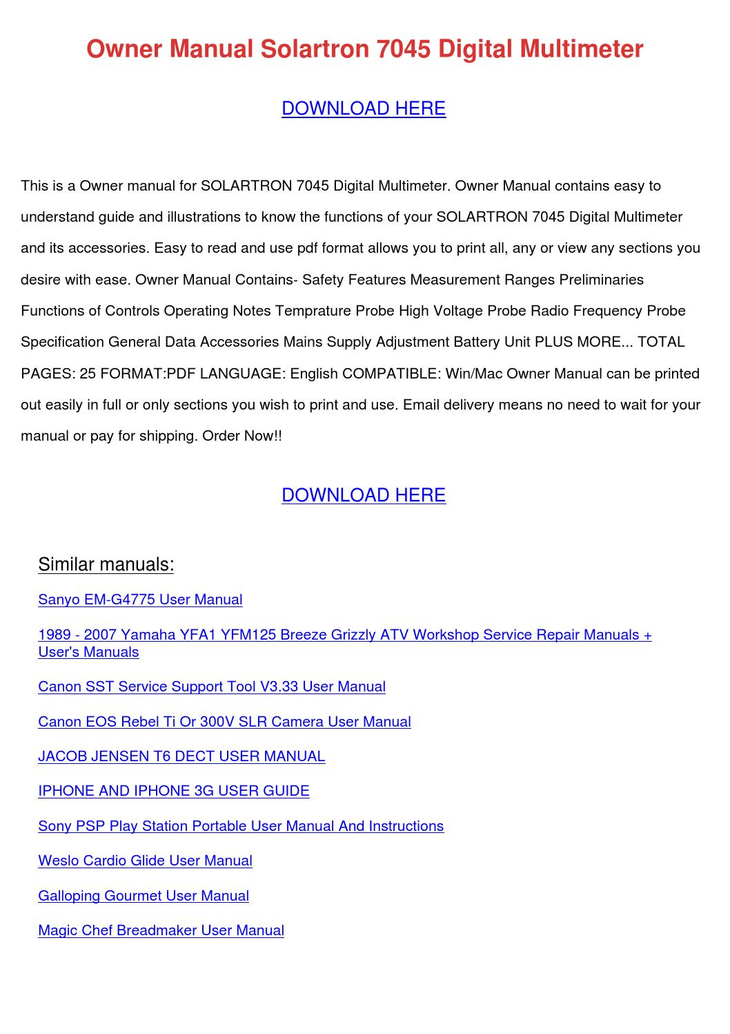 Owner Manual Solartron 7045 Digital Multimete by RomaReeder - issuu