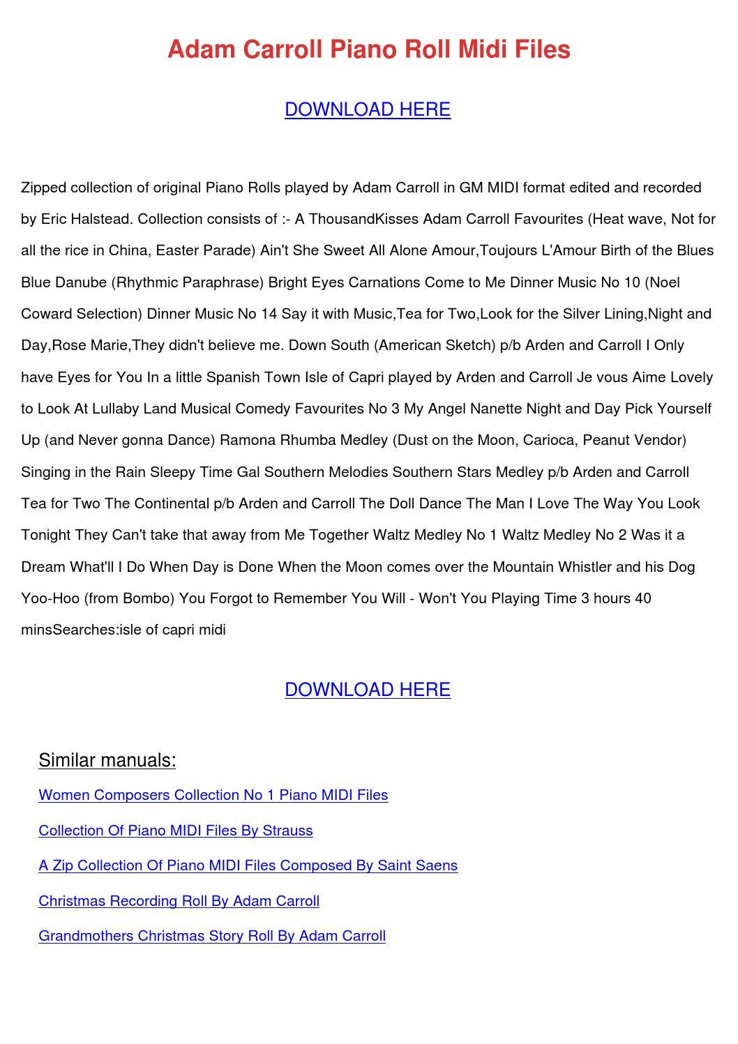 Adam Carroll Piano Roll Midi Files