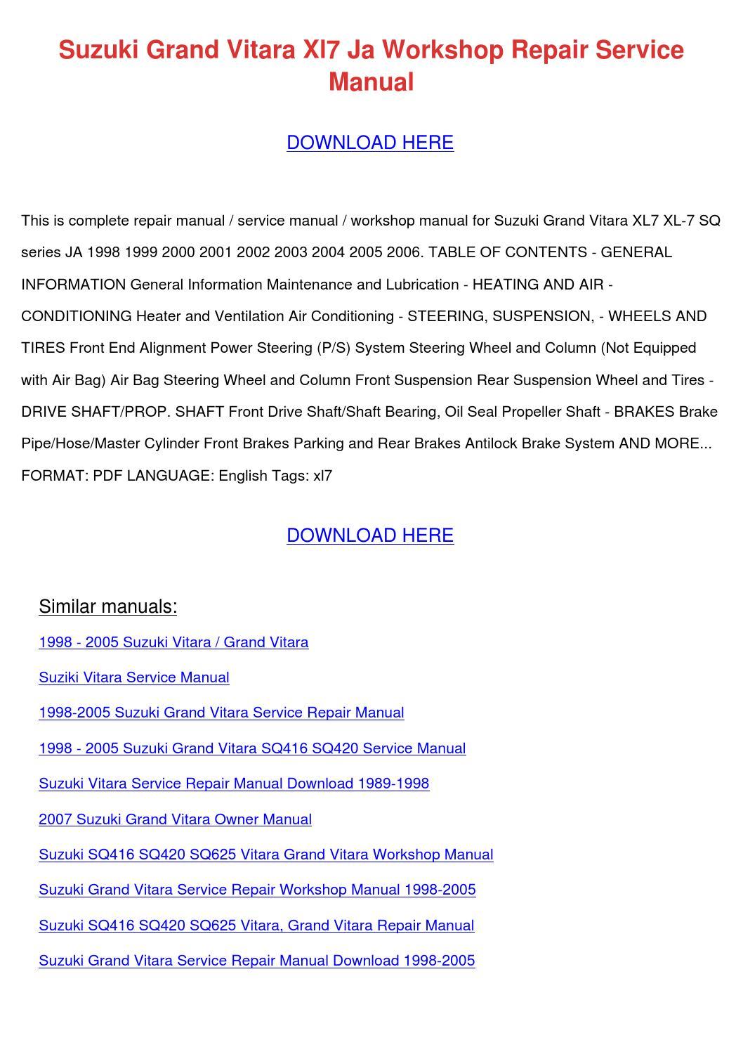 suzuki grand vitara digital workshop repair manual 1998 2005