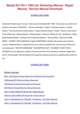 Mazda Rx7 Rx 7 1993 Car Workshop Manual Repai by RomaReeder - issuu