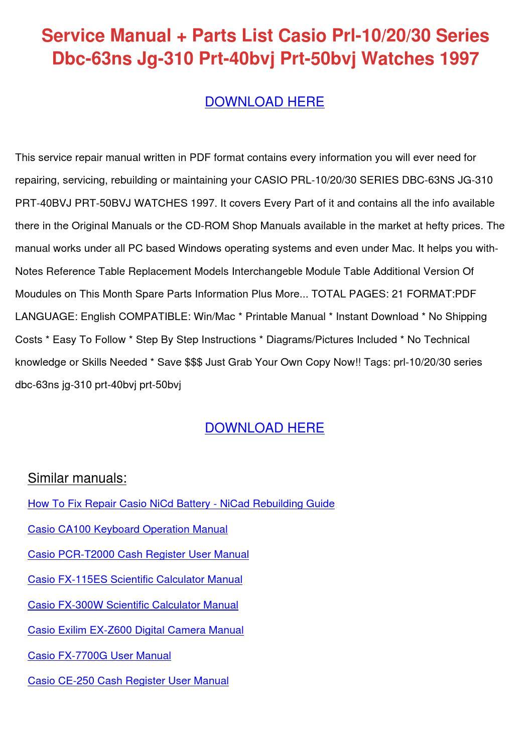 Service Manual Parts List Casio Prl 102030 Se by SeymourSaldivar ...