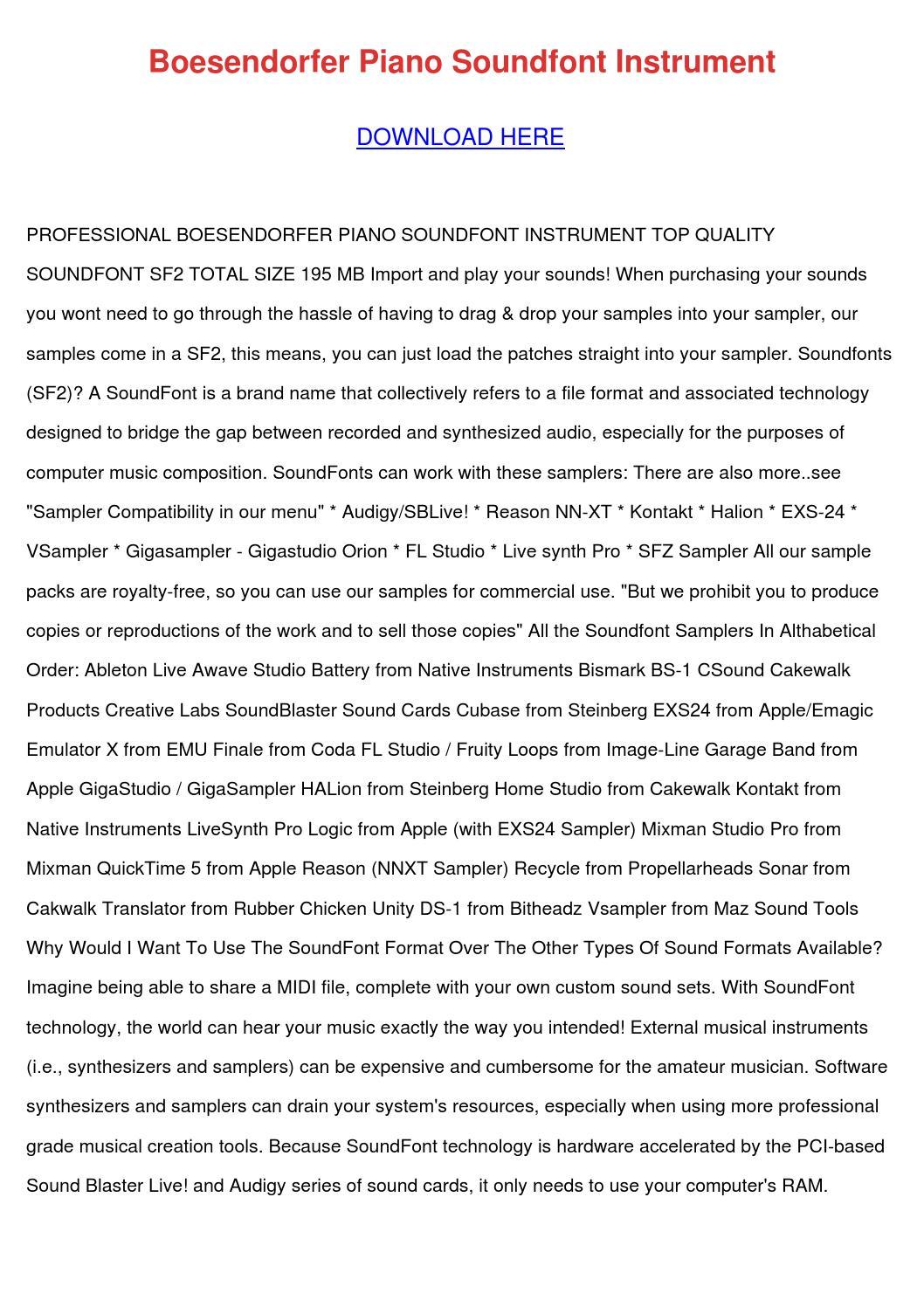 Boesendorfer Piano Soundfont Instrument by KlausJean - issuu